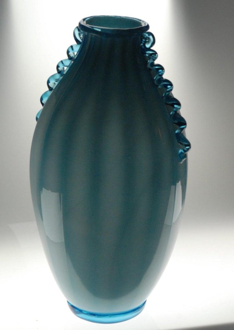 Vase Sfumato, Cirillo Maschio, Attributed Aquamarine with Morisa Murano, 1920s For Sale 4