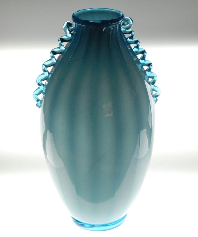 Vase Sfumato, Cirillo Maschio, Attributed Aquamarine with Morisa Murano, 1920s For Sale 5