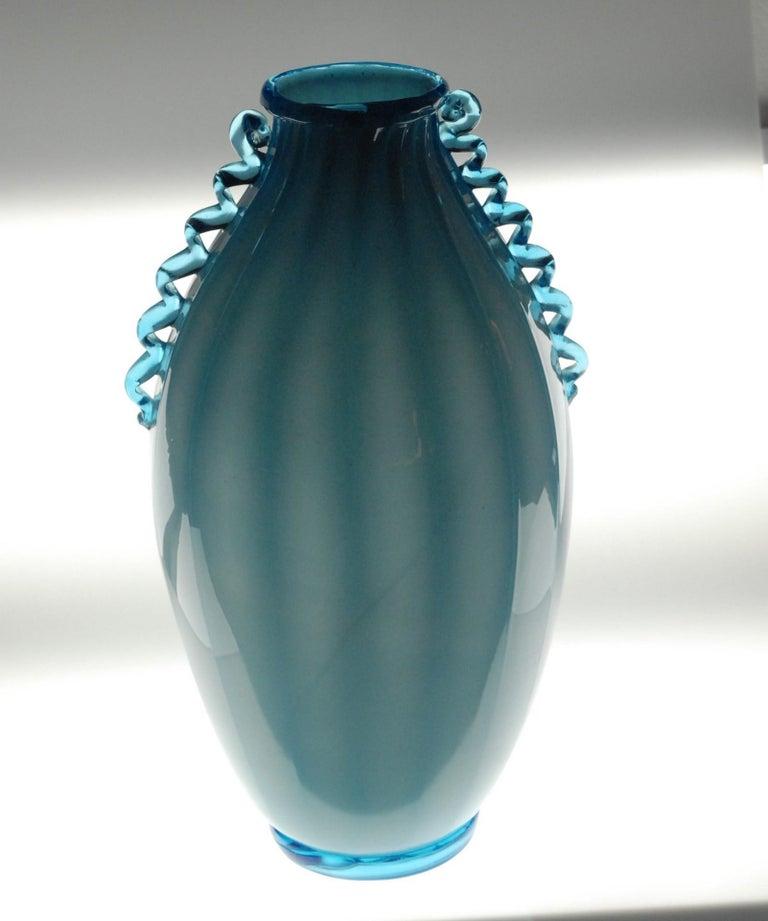 Vase Sfumato, Cirillo Maschio, Attributed Aquamarine with Morisa Murano, 1920s For Sale 7