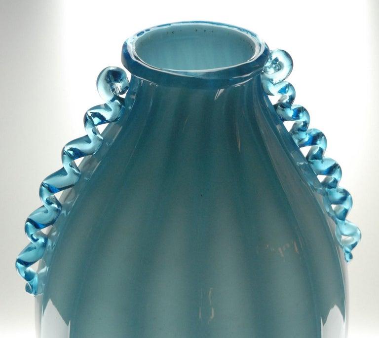 Hand-Crafted Vase Sfumato, Cirillo Maschio, Attributed Aquamarine with Morisa Murano, 1920s For Sale