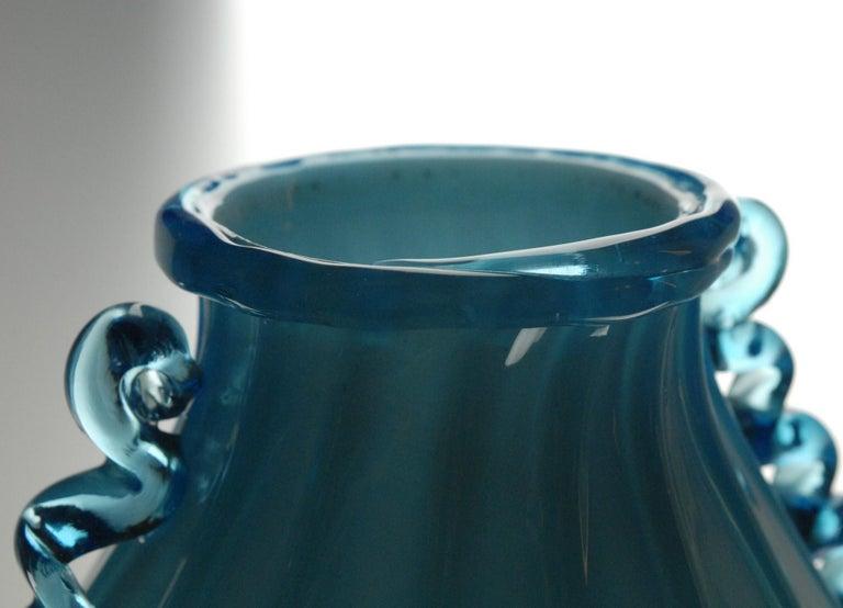 Vase Sfumato, Cirillo Maschio, Attributed Aquamarine with Morisa Murano, 1920s In Good Condition For Sale In Tavarnelle val di Pesa, Florence