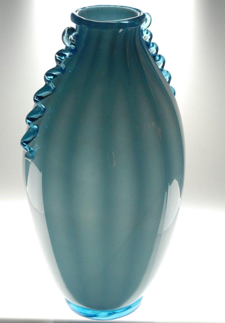 20th Century Vase Sfumato, Cirillo Maschio, Attributed Aquamarine with Morisa Murano, 1920s For Sale