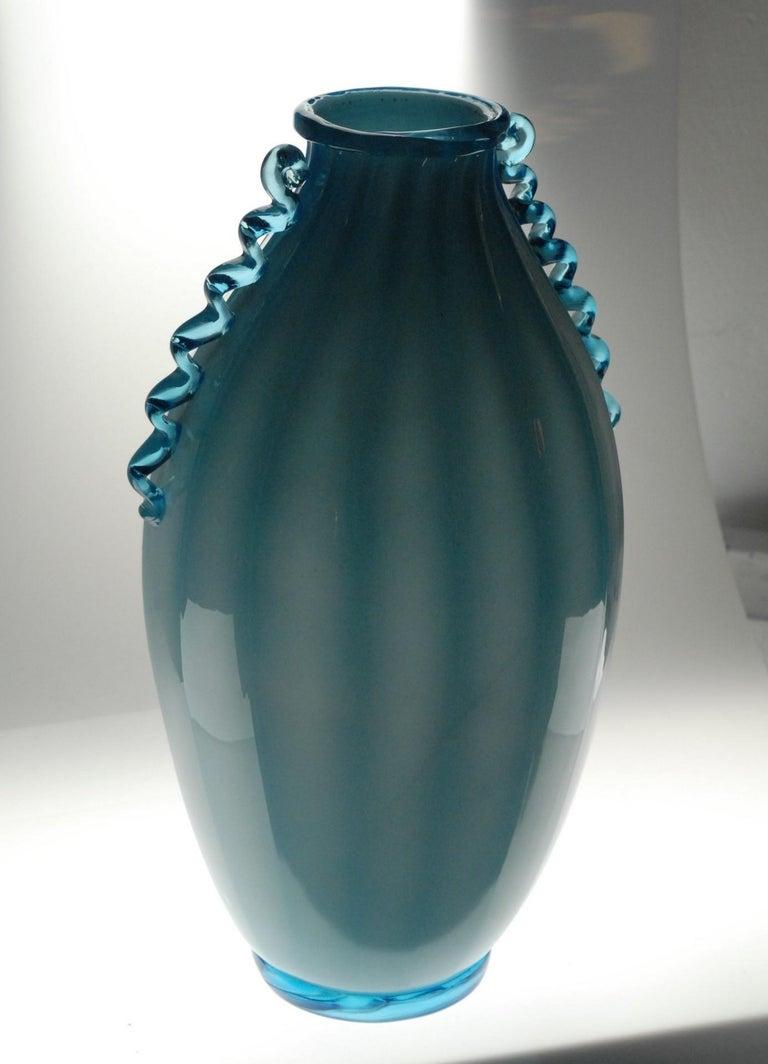 Art Glass Vase Sfumato, Cirillo Maschio, Attributed Aquamarine with Morisa Murano, 1920s For Sale