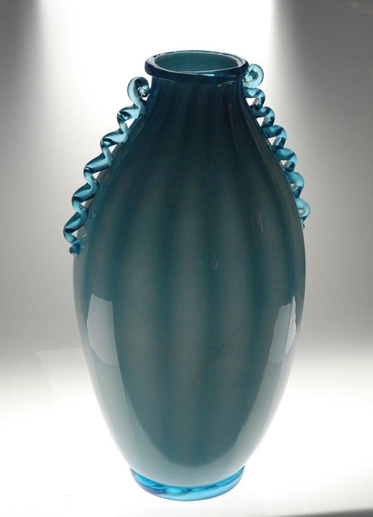 Vase Sfumato, Cirillo Maschio, Attributed Aquamarine with Morisa Murano, 1920s For Sale 1