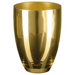 Vase Tik, Gold Color, in Glass, Italy