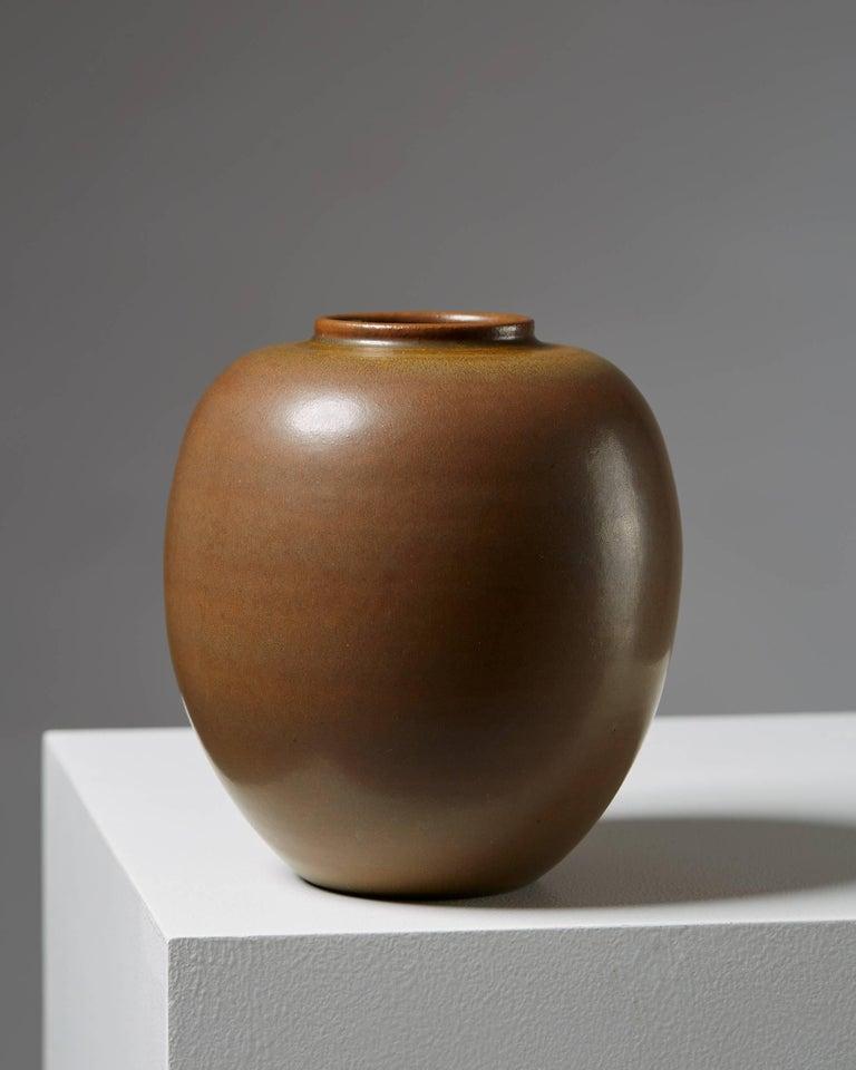 Vase 'Tobo' designed by Erich and Ingrid Triller,  Sweden, 1940s.  Stoneware.  Measures: H 18 cm/ 7''.