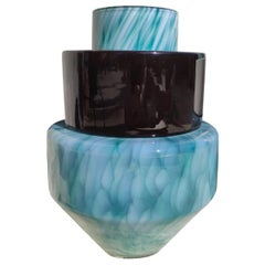 Vase TOTEM #1 Green, Unique 21 Century, Blown Glass and Ceramic Handmade Vase