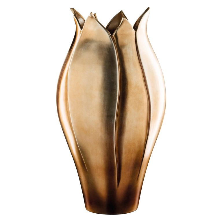 Vase Tulip High, Ceramic, Brass Metal Finish, Italy For Sale