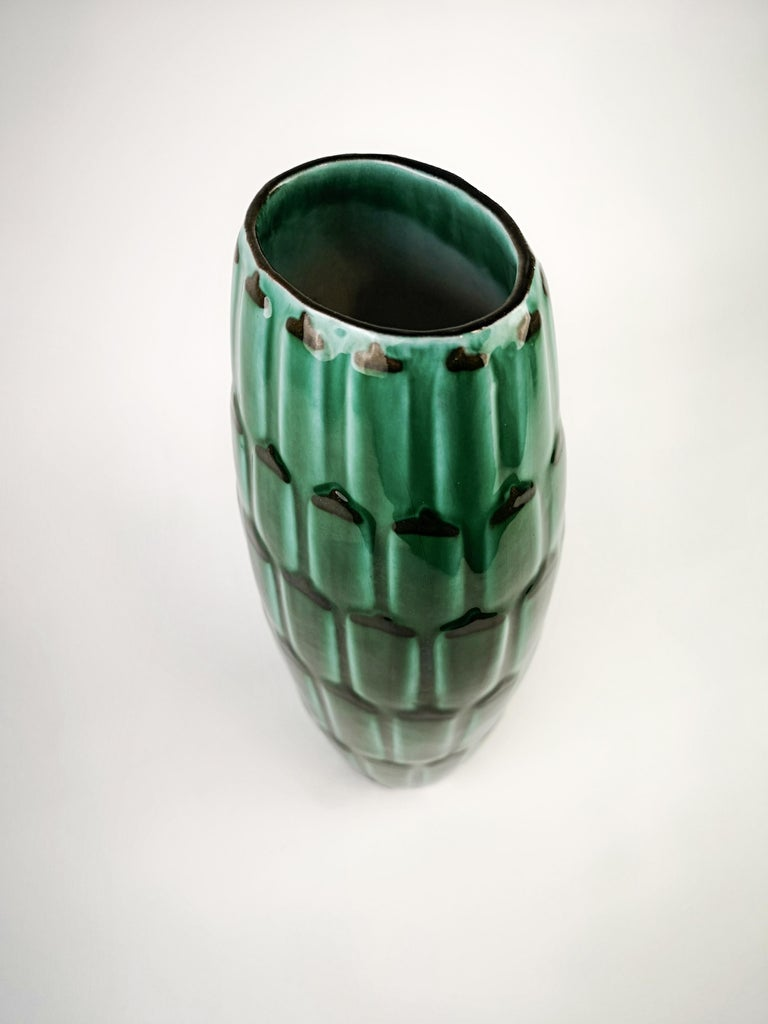 Swedish Green Large Ceramic midcentury Vase Upsala Ekeby Adria For Sale