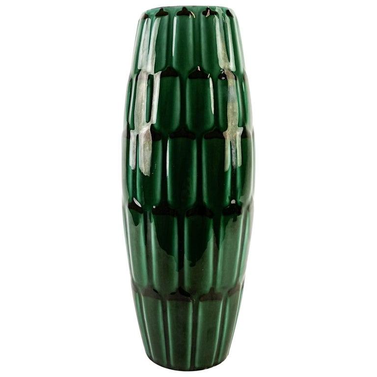 Green Large Ceramic midcentury Vase Upsala Ekeby Adria For Sale