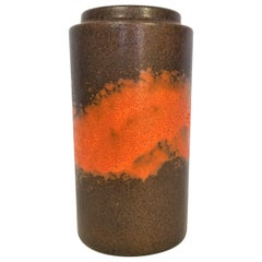 Vase West Germany Midcentury 1960s Glazed Ceramic Abstract Brown Orange
