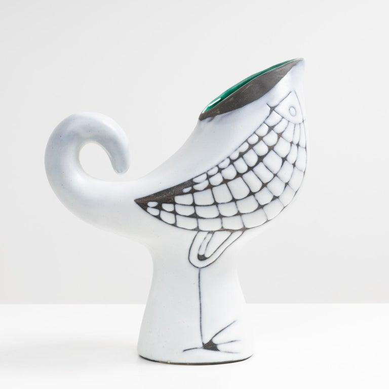 Mid-Century Modern Vase with Bird Decor, Roger Capron, Capron Vallauris, 'France'