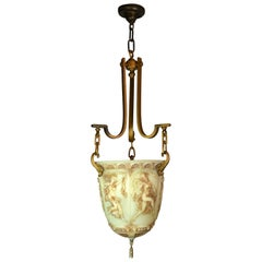 Vaseline Glass Bowl Figural Pendant