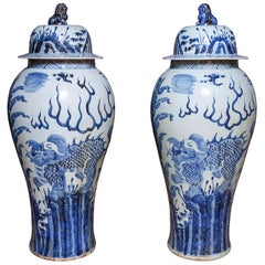 Vases and Covers Pair of Chinese Blue and White Porcelain Garniture Baroque
