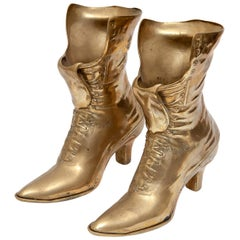 Vases Boots Pair of Brass Ornaments Victorian-Style Vintage