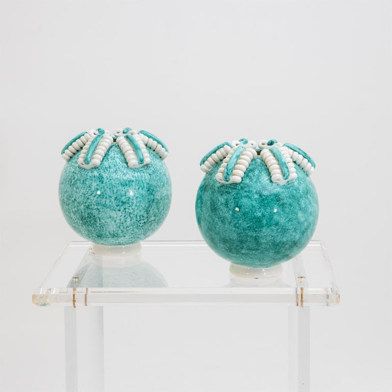 Pair of spherical turquoise-blue vases with cream spiral decoration by Gustave Asch (1836-1911) for Sainte Radegonde. Marked on the bottom.