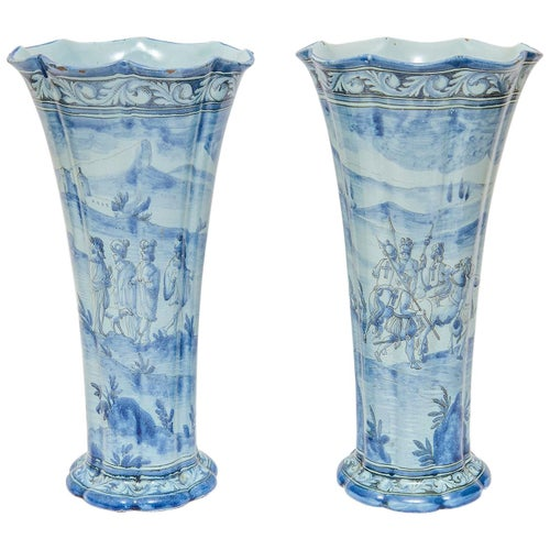 Vases Tulip Pair Delft Blue & White 19th Century Dutch Medieval Style Crusaders