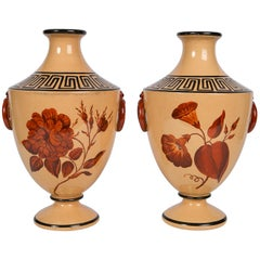 Vases with Large Red Flowers and Greek Key Decoration