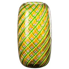 Vasi a Canne Ritorte Glass Vase in Tea and Grass Green by Venini