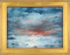Stormy Sunset Seascape with Blue & Orange
