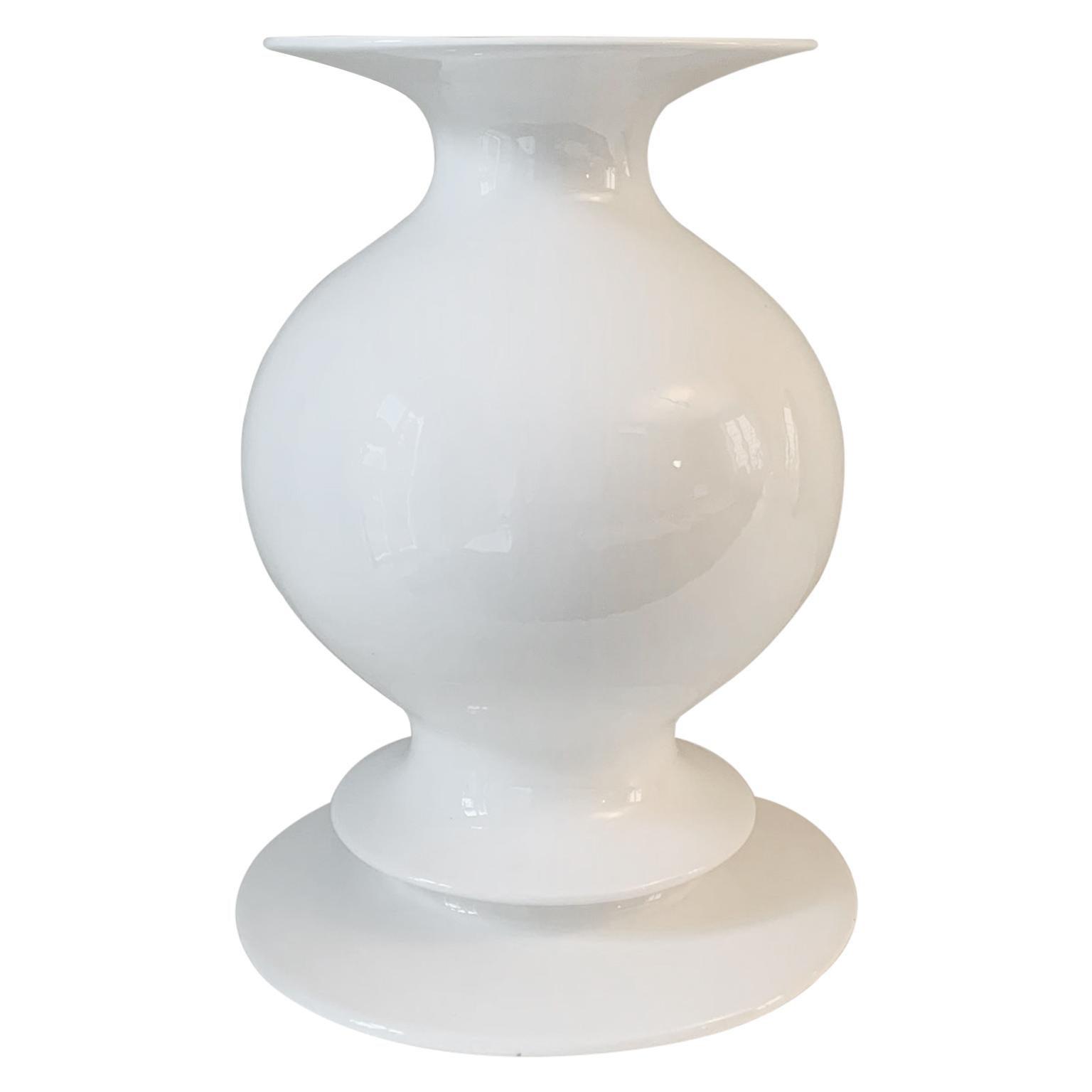 Vaso Bianco, Ceramic White Vase by Michele De Lucchi
