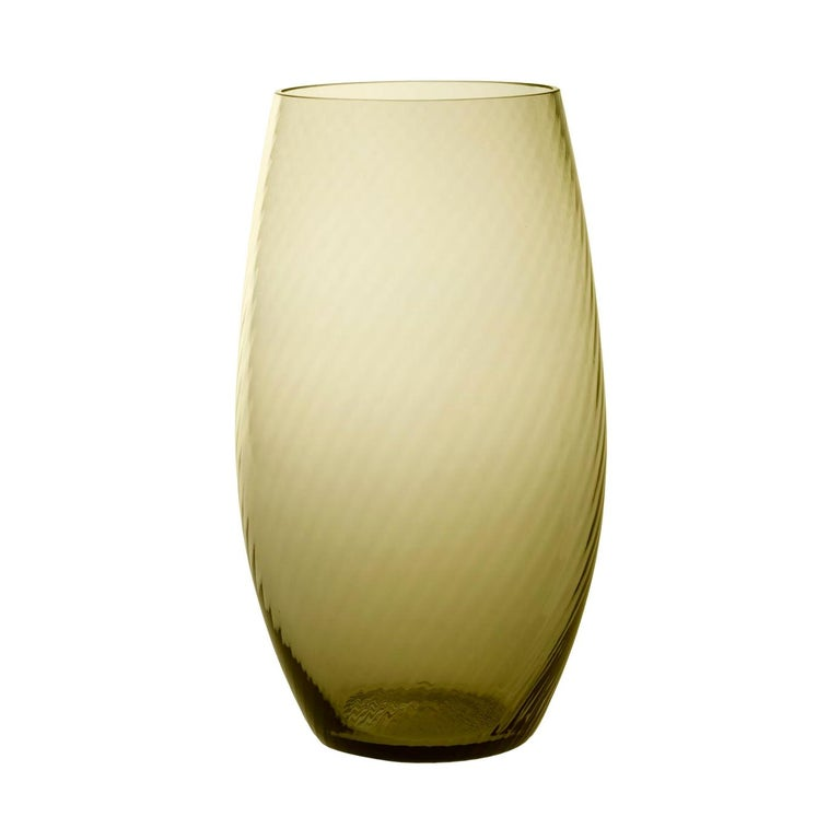 Vaso Ovale28, Vase Handcrafted Muranese Glass, Angora Twisted MUN by VG For Sale