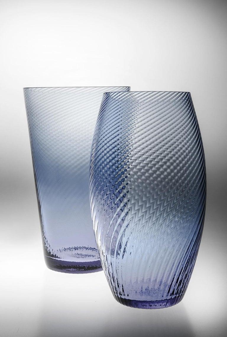 Italian Vaso Ovale28, Vase Handcrafted Muranese Glass, Aquamarine Plisse MUN by VG For Sale