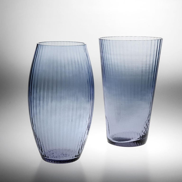 Hand-Crafted Vaso Ovale28, Vase Handcrafted Muranese Glass, Aquamarine Plisse MUN by VG For Sale
