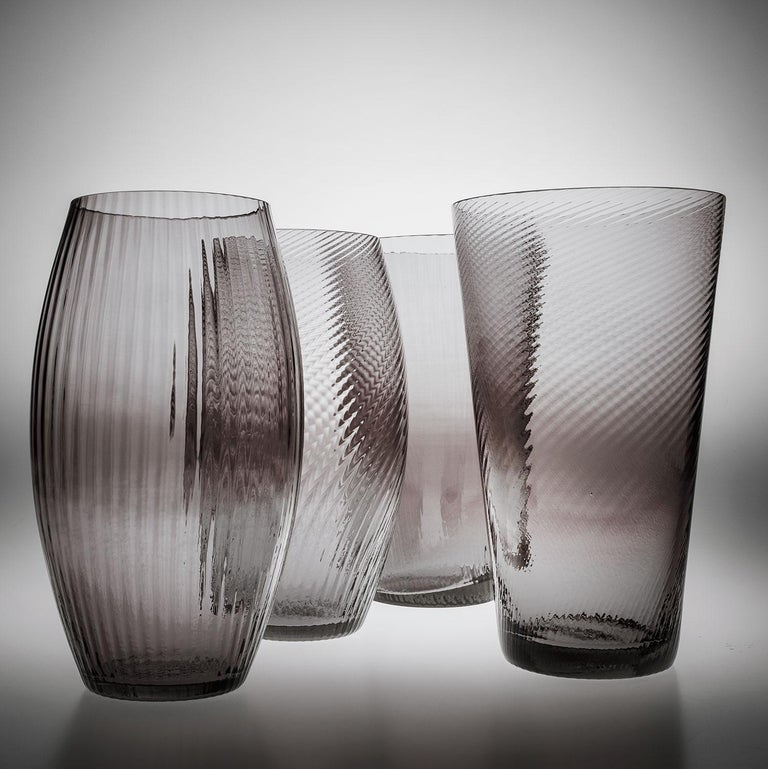 Contemporary Vaso Ovale28, Vase Handcrafted Muranese Glass, Aquamarine Plisse MUN by VG For Sale