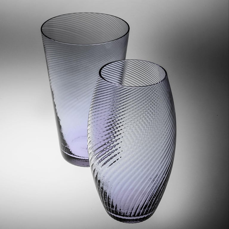 Vaso Ovale28, Vase Handcrafted Muranese Glass, Aquamarine Plisse MUN by VG For Sale 1