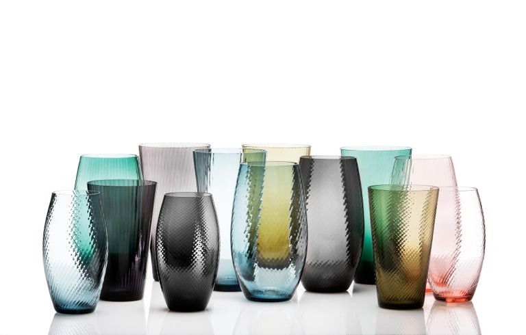 Vaso Ovale28, Vase Handcrafted Muranese Glass, Aquamarine Plisse MUN by VG For Sale 3