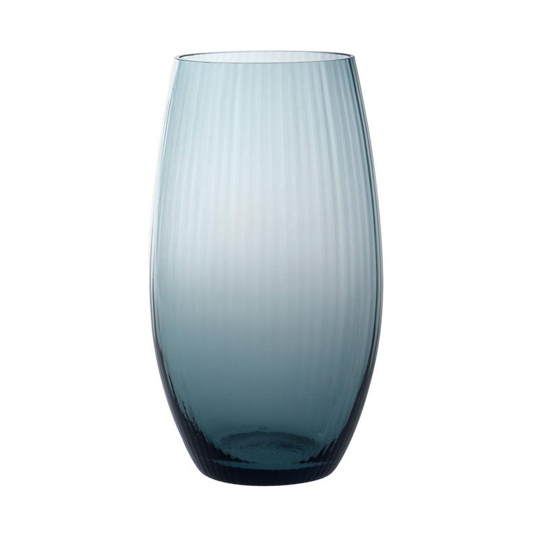Vaso Ovale28, Vase Handcrafted Muranese Glass, Aquamarine Plisse MUN by VG For Sale
