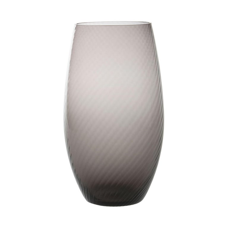 Vaso Ovale28, Vase Handcrafted Muranese Glass, Lead Twisted MUN by VG For Sale