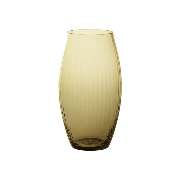 Vaso Ovale32, Vase Handcrafted Muranese Glass, Angora Plisse MUN by VG For Sale