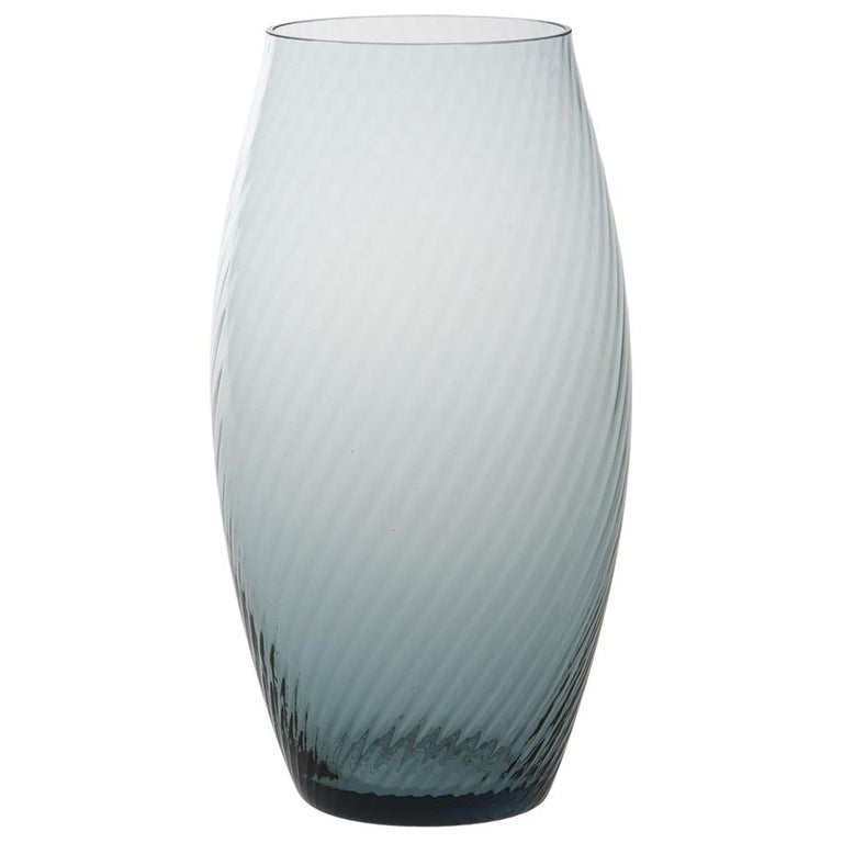 Vaso Ovale32, Vase Handcrafted Muranese Glass, Aquamarine Twisted MUN by VG For Sale