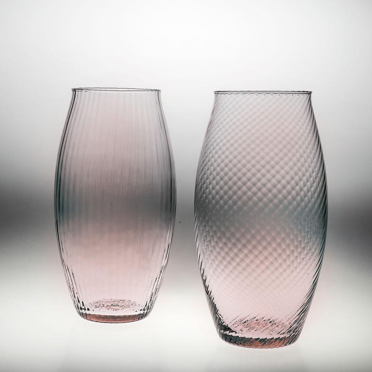 Modern Vaso Ovale32, Vase Handcrafted Muranese Glass, Rose Quartz Twisted MUN by VG For Sale