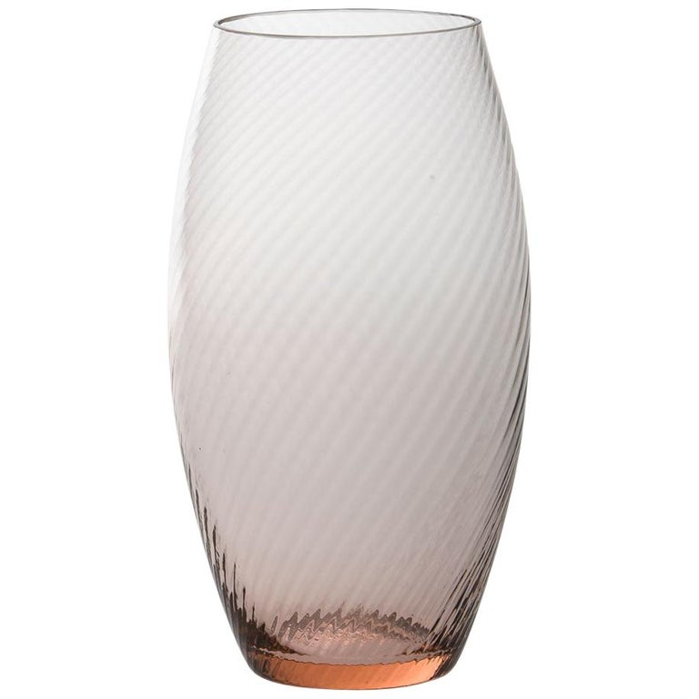 Vaso Ovale32, Vase Handcrafted Muranese Glass, Rose Quartz Twisted MUN by VG For Sale