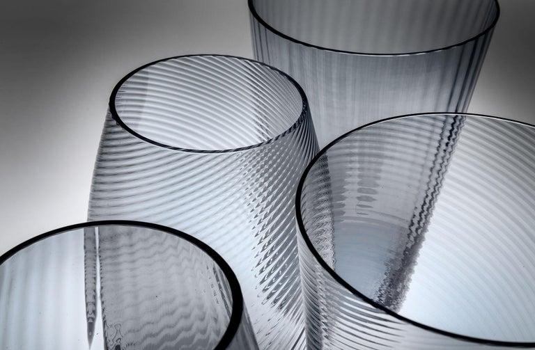 Vaso Squadrato34, Vase Handcrafted Muranese Glass, Angora Plisse MUN by VG In New Condition For Sale In Quinto di Treviso, Treviso