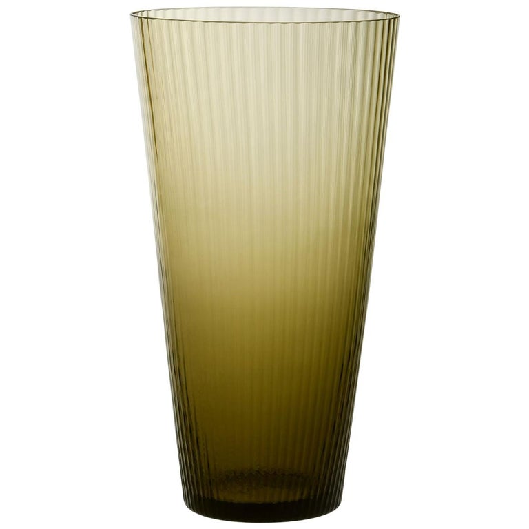 Vaso Squadrato34, Vase Handcrafted Muranese Glass, Angora Plisse MUN by VG For Sale