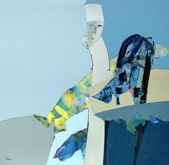 Francisco's Dream - Large Figurative Oil painting Blue Black Grey Yellow Marine