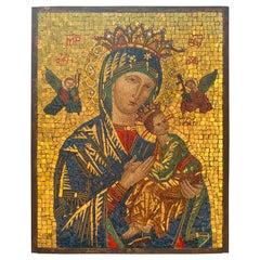 """Vatican Micro-Mosaic of """"Madonna del Perpetuo Soccorso"""", 19th Century"""