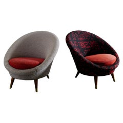 """Vatne """"Florida"""" Easy Egg Chairs in Style of Royère Produced in Norway, 1950s"""