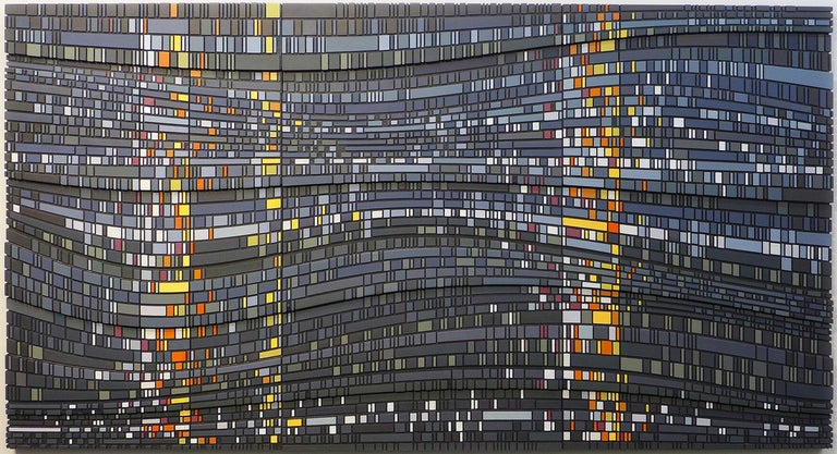 Vaughn Horsman Abstract Painting - Empty Light - triptych contemporary modern geometric sculpture painting relief