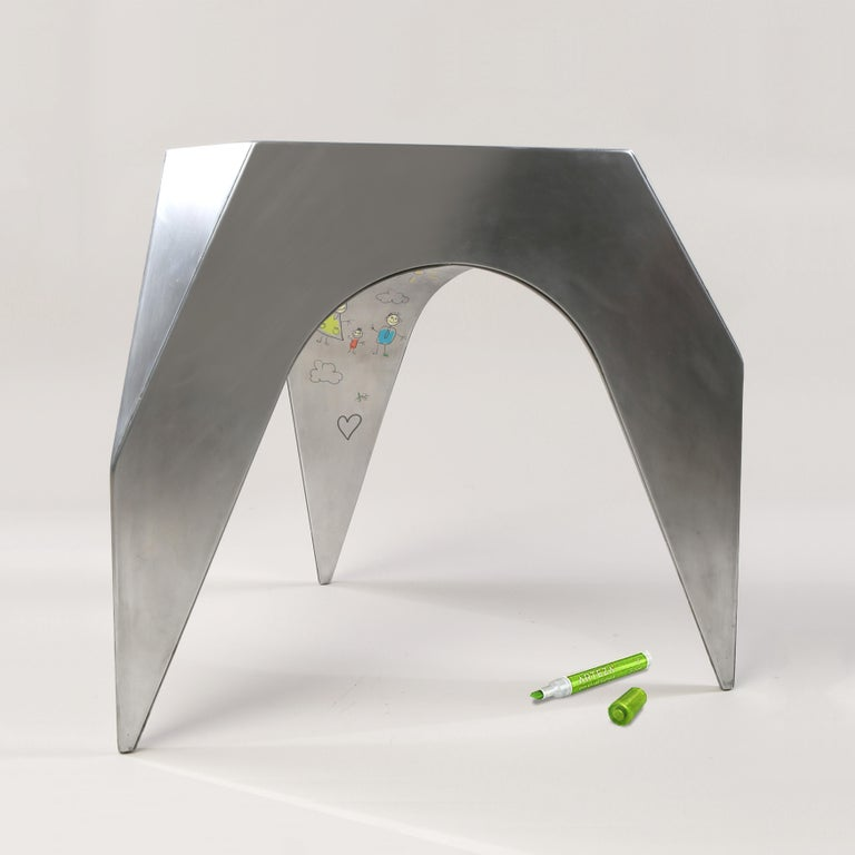 The vault stool was inspired by our childhood experience of drawing on the undersides of coffee tables. We would lay there on our backs like little Michaelangelos with markers and crayons creating battle scenes and landscapes. This stool allows for