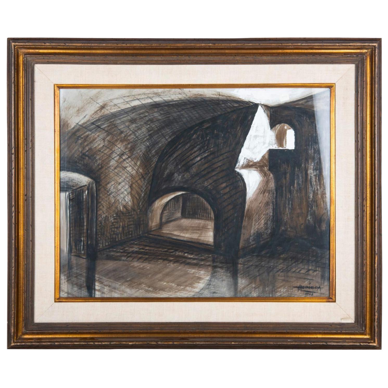 """Vaulted Interior""."" Framed Gouache on Paper"