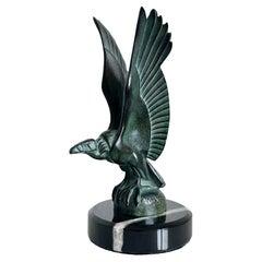 Vautour Animal Sculpture in Spelter Marble Original Max Le Verrier