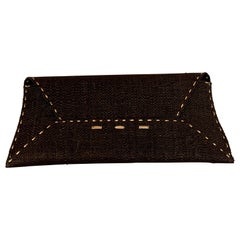 VBH Manila Clutch Black Woven Straw with Gold Accents