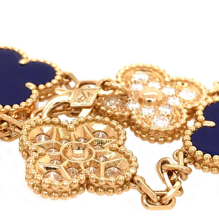 For the 50th anniversary, Van Cleef & Arpels released a small, limited collection of pieces, one of which was the 5 motif bracelet in lapis lazuli and diamonds. The gorgeous lapis stone hasn't been seen in the Alhambra collection since Jacques