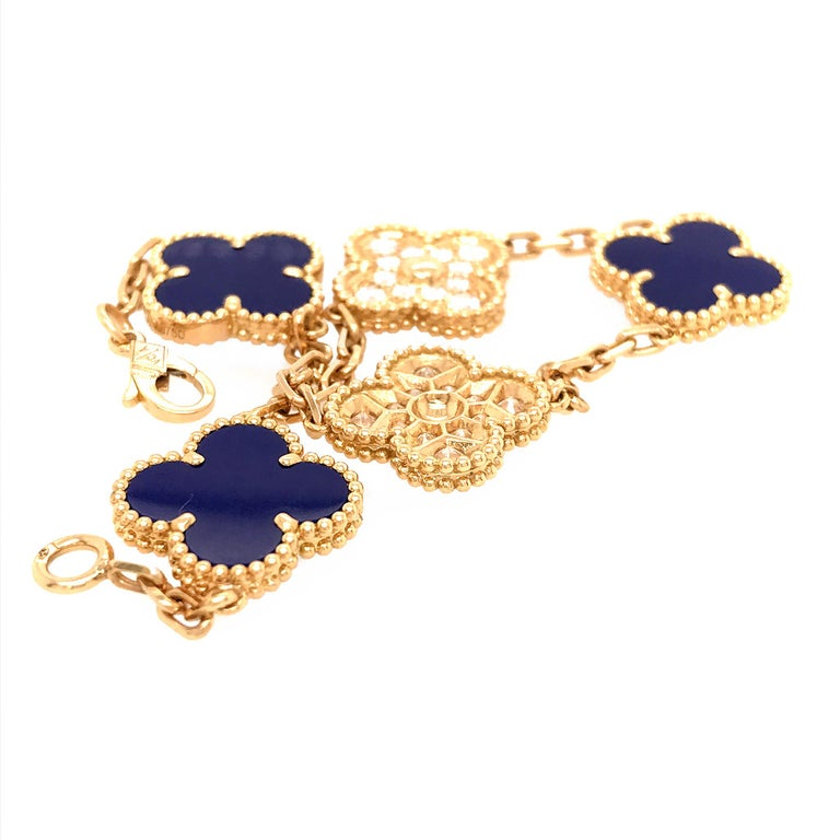 VCA 50th Anniversary Lapis Lazuli and Diamond 5 Motif Vintage Alhambra Bracelet In Excellent Condition For Sale In New York, NY