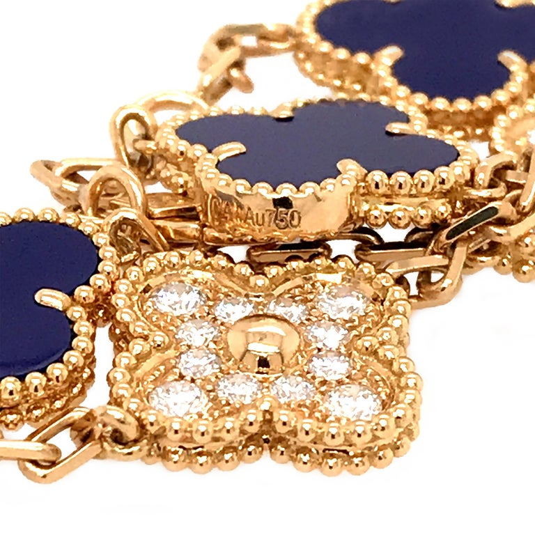 Women's VCA 50th Anniversary Lapis Lazuli and Diamond 5 Motif Vintage Alhambra Bracelet For Sale